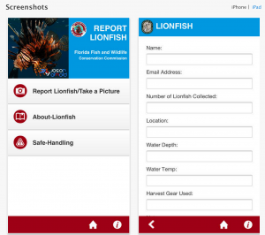 Report Florida Lionfish on iOS iPhone and iPad and Android Mobile Phones and Tablets